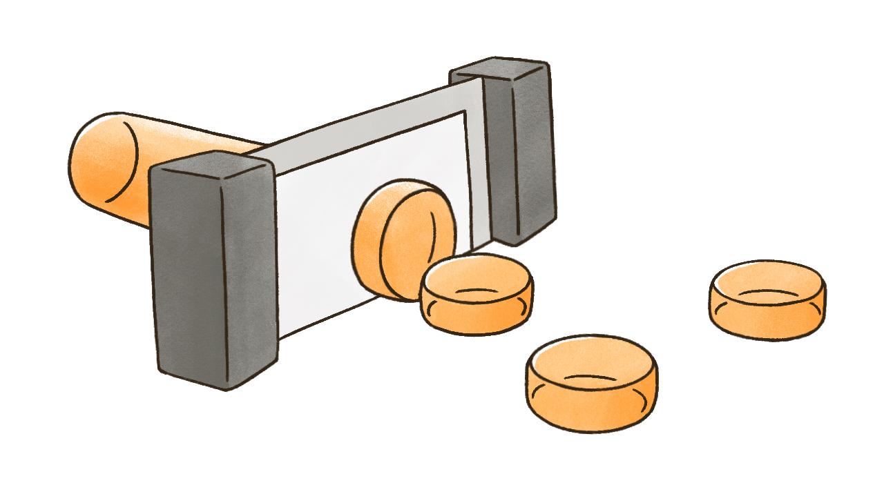 3.固まったブロック状の石鹸を完成品の重量にあわせて切断します。